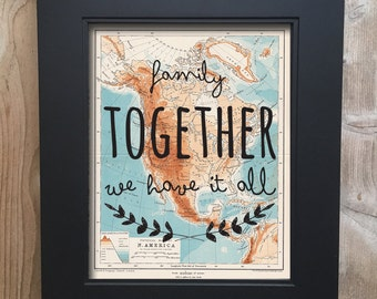 Family Together Travel Print on salvaged atlas page