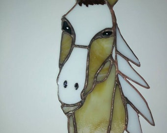 Stained glass horse head, sun catcher, cathedral glass