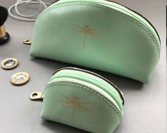 Handmade leather make up and coin purse set
