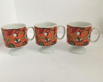 3 Retro Floral Demitasse Footed Mugs by Holt Howard