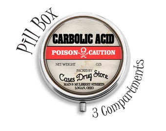 Poison Pill Box, Compact Mirror, Pendant, Key Fob, Gift for Women