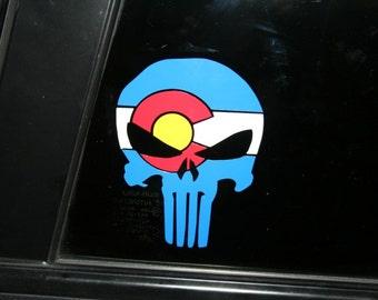 Colorado Flag Punisher Skull die cut sticker