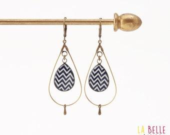 hoop earrings resin graphic pattern Teardrop Navy Blue chevron
