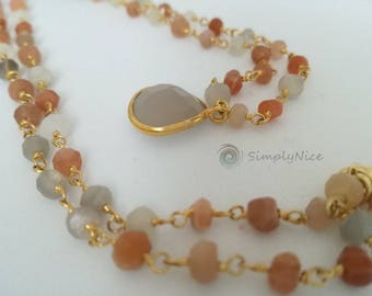 Agatha and Moonstone Necklace Gold