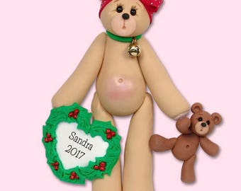 BELLY BEAR Christmas Girl Handmade Polymer Clay Personalized Christmas Ornament - Limited Edition