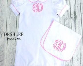 Baby Girl Layette Set, baby girl gift set, classic baby girl gift set, ric rac gown, day gown, baby girl gown, baby girl day gown, baby girl