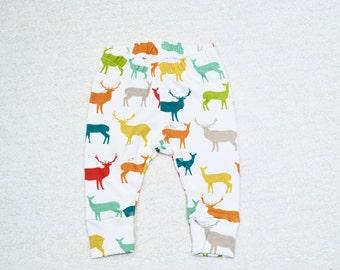 Organic Knit Birch Elk Family multi, Baby Leggings, Boy/Girl Leggings, Baby Pants, Organic Pants, Baby Gift
