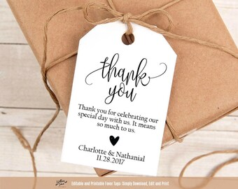 Wedding Favor Tag Printable, Thank You Wedding Tags, Printable Thank you Tags, Favor Tag Template, Instant Download PDF, WLP336