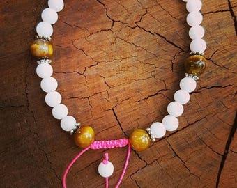 Purity, Harmony & Balance White Jade and Tigereye  Gemstone Bracelet
