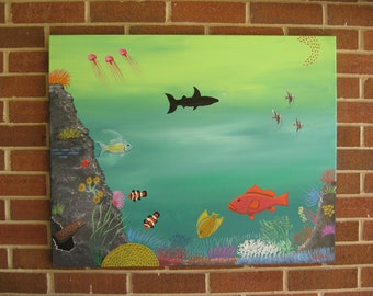 Coral Reef Tropical Decor Clownfish Painting Beach Decor Aquarium Art Shark Painting