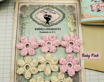 Crochet Flowers with 100% cotton yarn - French Vintage Style - Baby Pink - Light Beige