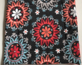 14x14 Lap/Potty Pad- Red & Coral Floral with Red
