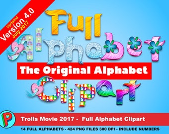 Trolls - The Original Alphabet Clipart - Updated July 2017 - 424 png files 14 Full Alphabets 300 dpi - Trolls Party