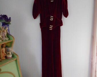 Gorgeous 1930's Rust/Burnt Orange Silk Velvet Gown with Rhinestone Buckles