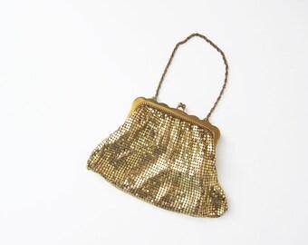 Whiting and Davis Gold Mesh Purse - Gold Chain Bag - Gold Bridal Clutch - A Frame Clutch - Vintage Gold Purse - Bridal Wristlet - Flapper