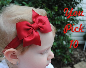 Baby Bow Headband Set Choose 10 Colors Big Bow Headband for Baby Girls Toddler Headbands 3 Inch Hairbands for Girls New Baby Girl Gift Set