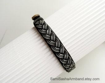 Swedish bracelet Scandinavian Leather bracelet Sami  bracelet Viking bracelet Brown leather bracelet with Antler Button