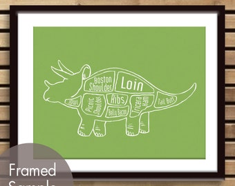 Triceratops, Dinosaur Butcher Diagram - Art Print (Featured in Grass Green) (Buy 3 and get One Free)