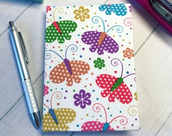 Butterfly fabric covered notebook A6 handbag size other fabric options