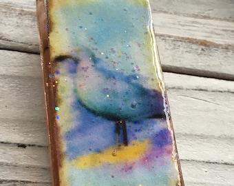 Watercolor Seagull Glass Pendants