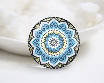Handmade Round kaleidoscope Photo Glass Cabochons (P3748)