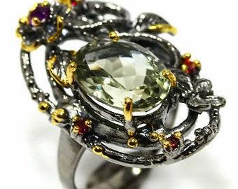 Natural Green Amethyst 925 Sterling Silver Ring size 7.5 - Fine Art Ring 7 8 - Handmade Ring Green Amethyst ring Garnet Butterfly Ring