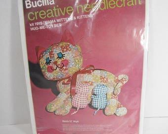 Vintage Bucilla creative needlecraft kit 1915 Mama Mittens & Kittens Hug Me Toy Set Vintage Kitsch Cat sewing kit 1970s Cat Kitten Dolls
