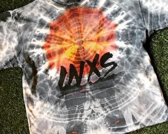 1980s RARE INXS Tye Dye Cropped T-shirt sz Med