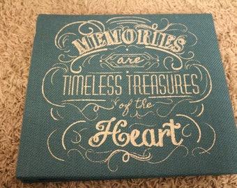 "rustic Scrapbook photo album ""Memories are timeless treasures of the Heart"""