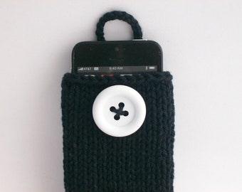 Cell Phone Case iPhone 4 to 7, Samsumg Galaxy s4 to s7 Sleeve Gadget Cozy Hand Knit Black with Large White Button Crochet Loop Gift under 25