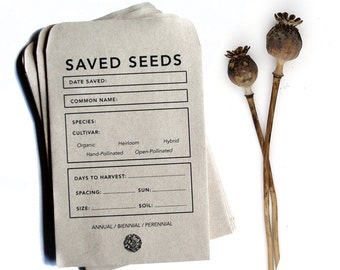 50 Seed Saving Envelopes | Heirloom Gardening | Recycled Paper And Soy Ink