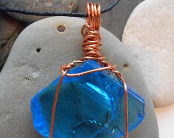 Blue Glass Wire-Wrapped Pendant:  Blue Horizon