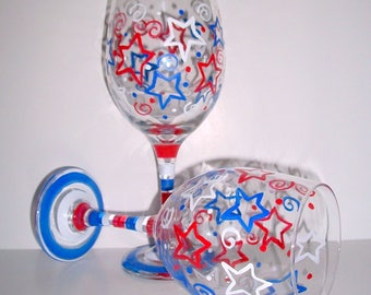 Stars & Stripes Hand Painted Wine Glasses July Fourth Red White and Blue Patriotic Set of 2 - 20 oz 4th of July Independence Day Patriotic