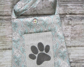 Bucket Bag/Tote - Blue,grey and white with paw print on pocket