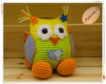 Crochet Owl Pattern Amigurumi Owl Pattern DIY Owl PDF Amigurumi Owl Yellow Green Owl Pattern Baby Owl Crochet Tutorial Bird Pattern