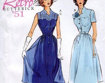Butterick 5920 Free Us Ship Retro 1950's 150th Anniversary Dress & Slip 1950's Reproduction Uncut Sewing Pattern Size 6/14 14/22 Bust 30-44