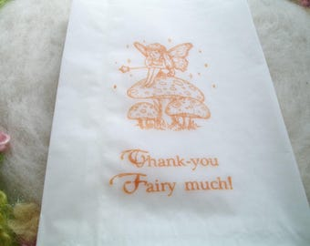 Glassine Bag, 10 Hand Stamped Thank You Fairy Much Small Gift, Party Favor Cookie Candy Pastry Bag Wedding Shower Pixie Fairy Party