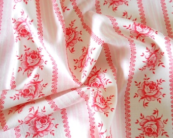floral 1930's fabric patchwork fabric quilting fabric antique pink flowers french fabric vintage french pink floral fabric  204