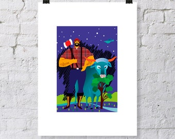 Paul Bunyan and Babe Blue Ox print