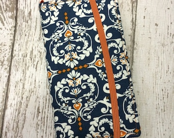 Samsung Galaxy wallet, Galaxy case - blue and orange damask with removable gel case