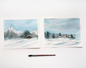 Watercolor diptych Winter landscape Snow painting Christmas gift Blue watercolor painting  Snow watercolor Winter snow painting