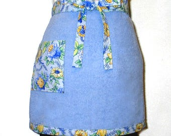 Terry Cloth Half Apron Blue with Floral Trim Reversible