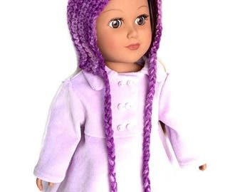18 Inch Doll Purple Pixie Hat, Variegated Crocheted Doll Pixie Hat with Ties, Winter Doll Clothes