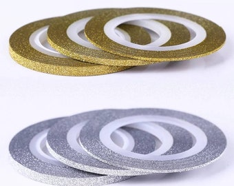 Gold Silver Glitter Striping Tape Nail Art Nail Decoration