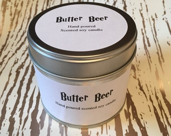 Butter beer scented soy candle, tinned candle, 250ml candle