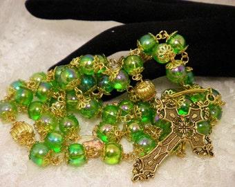 Green & Golden Rosary Or Prayer Beads