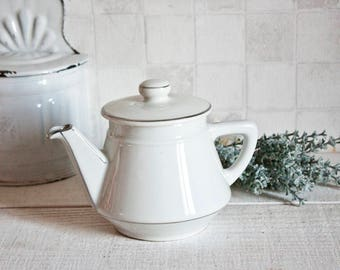 Vintage french ceramic white and silver teapot - Retro French vintage teapot - Shabby chic style