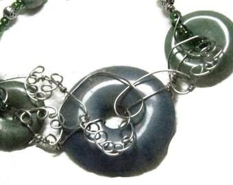 Green Agate Necklace, Green Gemstone Wirewrap Pendant Necklace