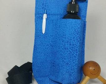 Massage Therapy single RIGHT hip 8oz lotion bottle hip holster, cobalt crackle, black belt
