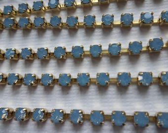 3mm Blue Opal Rhinestone Chain - Brass Setting - Light Sapphire Blue Opal Preciosa Czech Crystals